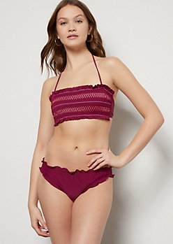 Burgundy Lettuce Edge Cheeky Bikini Bottoms
