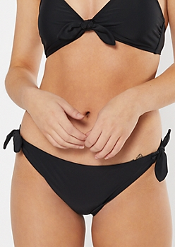 Black Side Tie Bikini Bottoms