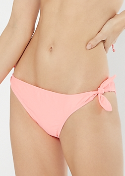 Coral Side Tie Bikini Bottoms