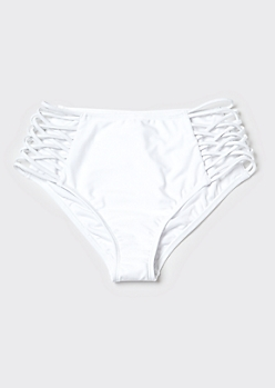 White High Waisted Crisscross Cutout Bikini Bottoms