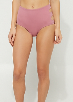 Pink High Waist Cutout Bikini Bottoms