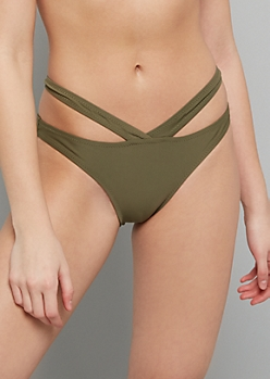 Olive Double Band High Waisted Bikini Bottoms