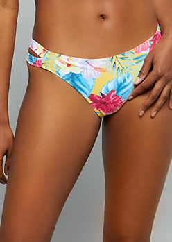 Yellow Tropical Floral Print Caged Bikini Bottoms