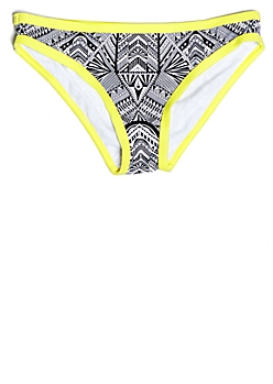 Yellow Geometric Print Low Rise Bikini Bottoms