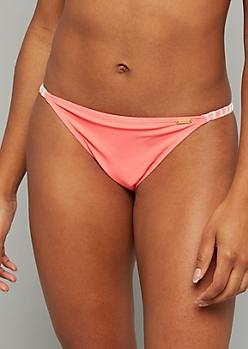 Neon Coral Stitched Strap Bikini Bottoms
