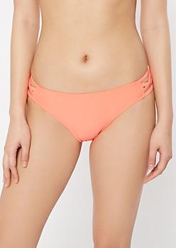 Neon Coral Strappy Crisscross Bikini Bottoms