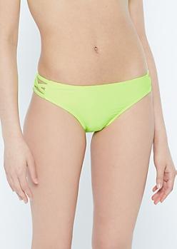 Neon Green Strappy Crisscross Bikini Bottoms
