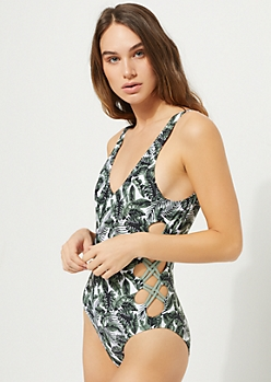 White Palm Tree Lattice Side Low Back One Piece