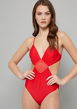 Red Crochet Side Cutout One Piece Swimsuit