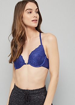 Blue Lace Caged Racerback Deep Plunge Bra