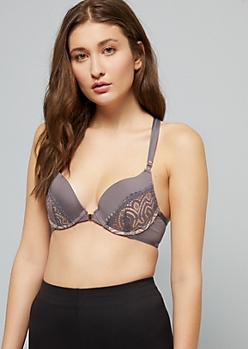 Dark Lavender Racerback Deep Plunge Push Up Bra