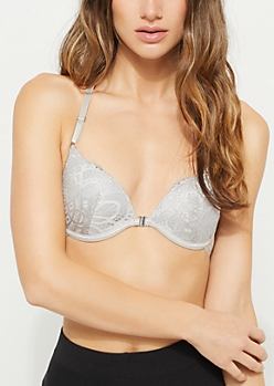Light Gray Lace Strappy Racerback Deep Plunge Bra