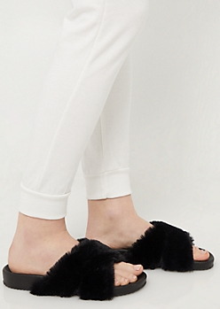 Black Faux Fur Cross Strap Sandals