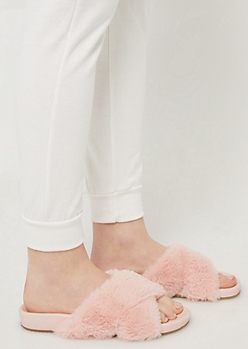 Pink Faux Fur Cross Strap Sandals