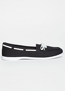 Black Lace Up Boat Shoes