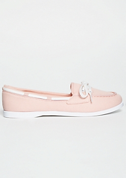 Pink Lace Up Boat Shoes