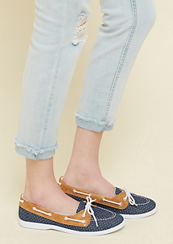 Navy Polka Dot Print Canvas Boat Shoes