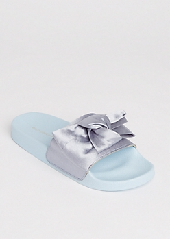 Light Blue Satin Bow Slides