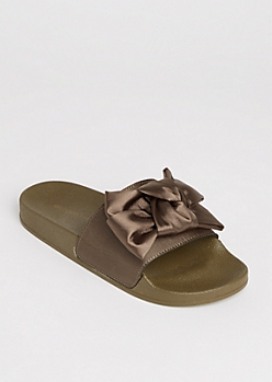 Olive Satin Bow Slides