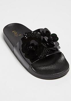Black Sequin Floral Patterned Slides