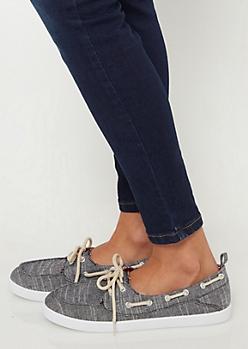 Black Marled Boat Shoes