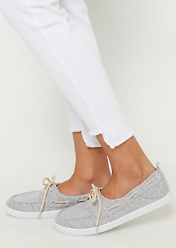 Gray Marled Boat Shoes