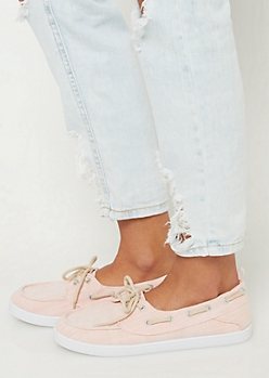 Light Pink Marled Boat Shoes