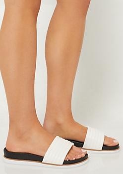White Padded Strap Contrast Slides