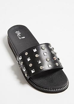 Black Faux Leather Studded Slides