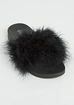 Black Feathered Slides