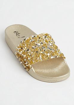 Golden Crushed Crystal Slides