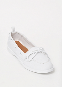 White Canvas Boat Shoes