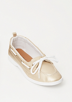 Gold Metallic Canvas Boat Shoes