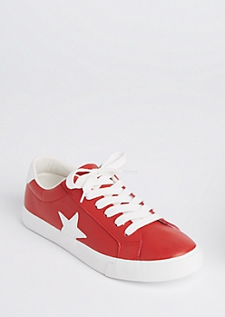 Red Star Patched Low Top Sneakers