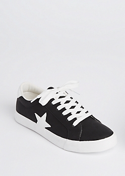 Black Star Patched Low Top Sneakers