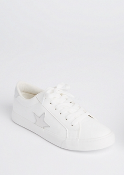 Silver Star Patched Low Top Sneakers