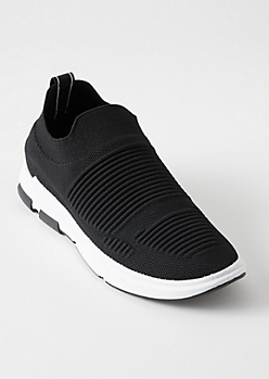 Black Ribbed Knit Sneakers