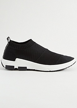 Black Mesh Knit Sock Trainers
