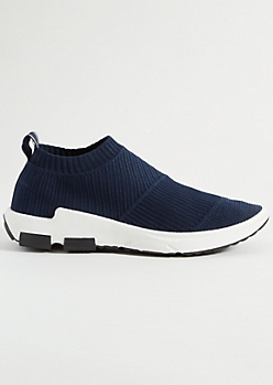 Navy Mesh Knit Sock Trainers