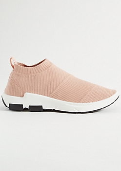 Pink Mesh Knit Sock Trainers