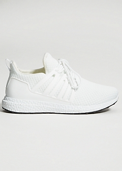 White Knit Caged Trainers