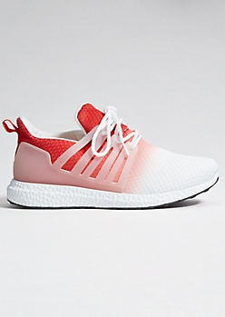 Red Ombre Knit Caged Trainers