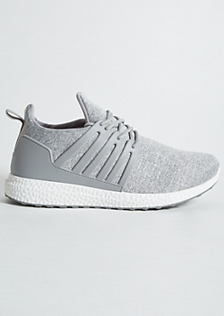 Gray Space Dye Jersey Knit Sneakers