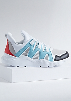 Blue Colorblock Textured Sole Dad Sneakers