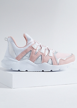 Pink Colorblock Textured Sole Dad Sneakers