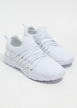 White Mesh Strappy Lace Sneakers