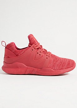 Red Marled Knit Rubber Side Sneakers