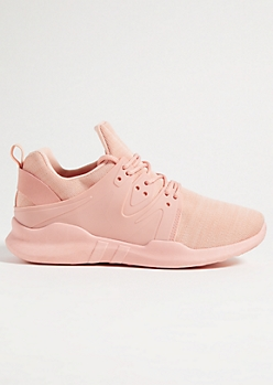 Light Pink Marled Knit Rubber Side Sneakers