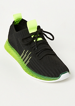 Black Side Striped Knit Trainers
