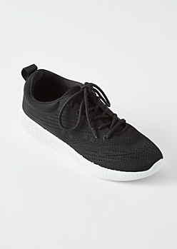 Black Knit Lace Up Trainers